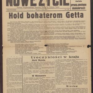 Nowe Życie : trybuna Wojewódzkiego Komitetu Żydowskiego na Dolnym Śląsku /