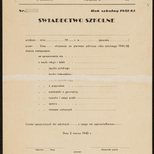 Świadectwo szkolne Jakuba Fiszmana, ucznia jawnej szkoły powszechnej, za 1 półrocze roku szkolnej 1941/1942
