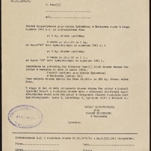 Pisma okólne Zakładu Zaopatrywania przy Radzie Żydowskiej w Warszawie skierowane do punktów rozdzielczych, dotyczące rozdziału artykułów żywnościowych i przemysłowych