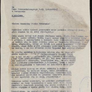 Pismo Sz[muela] [Samuela] Wintera do przewodniczącego Rady Żydowskiej w Warszawie