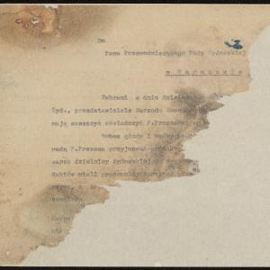 Pismo Zarządu Samopomocy [.....] do Przewodniczącego Rady Żydowskiej w Warszawie (fragment)