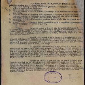 Sprawozdanie z działalności Centralnej Komisji Lokalowej za miesiąc marzec 1941 r.