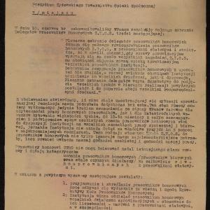 Pismo Egzekutywy Koła Pracowników Honorowych ŻTOS z 23.06.1941 r. do Prezydium ŻTOS