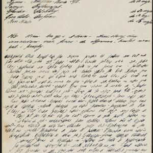 Fragmenty notatek dotyczących podwarszawskich miejscowości i skrót przemówienia Mordechaja Chaima Rumkowskiego w getcie warszawskim