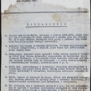 Zarządzenie z 17.03.1941 r. dotyczące pracy przymusowej dla ludności żydowskiej (fragment)