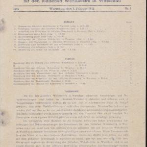 Urzędowy biuletyn dla żydowskiej dzielnicy mieszkaniowej w Warszawie, nr 1 z 1.02.1942