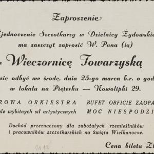 """Zaproszenie na wieczornicę towarzyską w lokalu """"Na Pięterku"""" (ul. Nowolipki 29), dn. 25.03.[1942 r.]"""