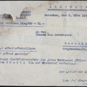 Pismo Wydziału Przesiedleń z 06.03.1941 r. do Przewodniczącego Rady Żydowskiej w Warszawie