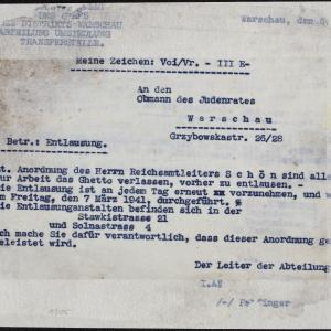 Pismo Wydziału Przesiedleń z 06.[03.1941 r.] do Przewodniczącego Rady Żydowskiej w Warszawie