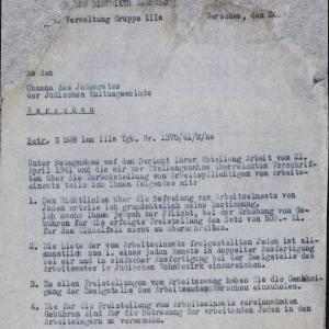 Pismo z 24.04.1941 r. do Rady Żydowskiej w Warszawie w sprawie obowiązku pracy