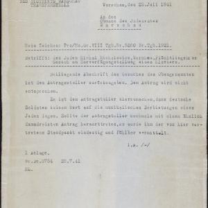Pismo z 23.07.1941 r. do Rady Żydowskiej w Warszawie