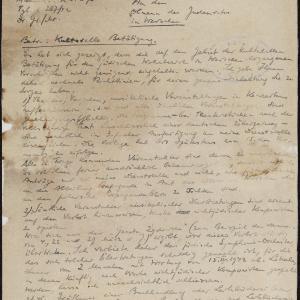 Pismo komisarza dla dzielnicy żydowskiej z 08.04.1942 r. do przewodniczącego Rady Żydowskiej w Warszawie