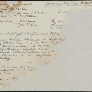 Pismo komisarza dla dzielnicy żydowskiej do Rady Żydowskiej w Warszawie (fragment)