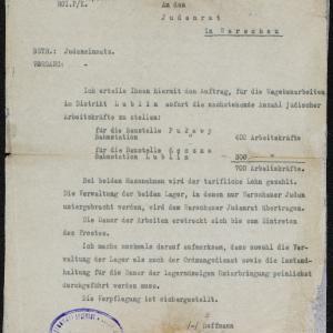 Pismo Urzędu Pracy z 16.11.1940 r. do Rady Żydowskiej w Warszawie w sprawie dostarczenia robotników do pracy
