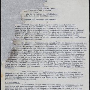 Zbiór dokumentów (okólników) niemieckich władz okupacyjnych GG dotyczących przymusu pracy dla ludności żydowskiej (fragmenty)