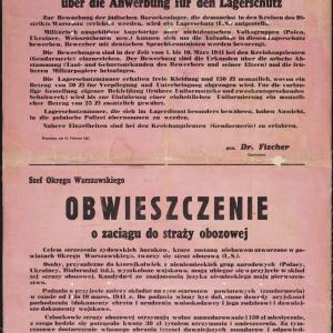 Obwieszczenie Szefa Okręgu Warszawskiego, dr Fischera z 27.02.1941 r.
