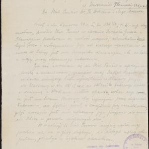 Pismo do CKU (dr B[ertold] Dobrina i mgr [Hersz] Wasser) z informacją o wysiedleniach z Izbicy