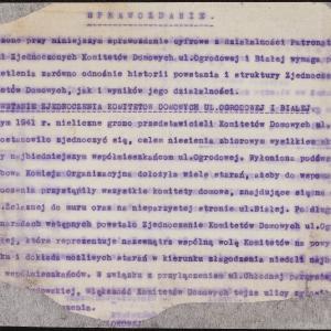 Pismo do Wydziału Statystycznego ŻKOM w Warszawie z zał. sprawozdaniami z działalności (fragment)