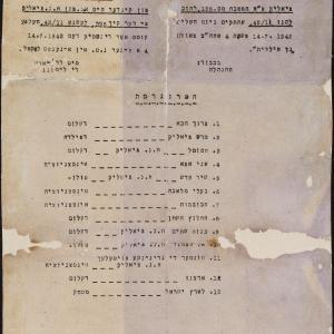 Zaproszenie na otwarcie hebrajskiego przedszkola im. Chaima Nachmana Bialika przy kuchni nr 135, ul Leszno 11 m. 42, dn. 14 lipca 1942 r.