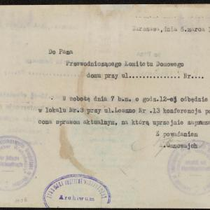 Pismo do przewodniczącego Komitetu Domowego przy ul. Karmelickiej 9 z zaproszeniem na konferencję w dn. 7.03.1942 r. na ul. Leszno 13