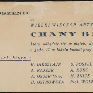 Zaproszenie na wieczór artystyczny Chany Braz w lokalu kuchni w dn. 03.04.1942 r.