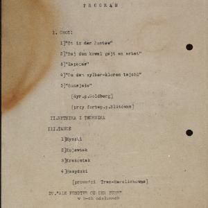 Program imprezy artystycznej w dniu 29 grudnia 1940 roku z udziałem dzieci