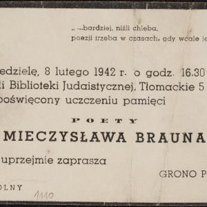 Zaproszenia na wieczór poświęcony pamięci poety Mieczysława Brauna, dn. 8.02.1942 r.