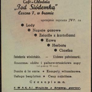 Café-Chłodnia Pod Siódemką (ul. Leszno 7), Ulotka reklamowa