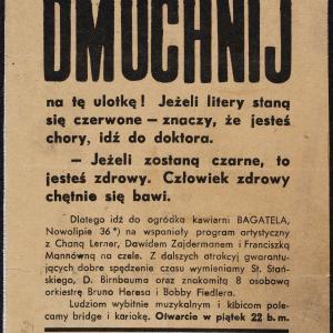 "Kawiarnia Bagatela (ul. Nowolipie 36), Ulotka reklamowa ""Dmuchnij na tę ulotkę!"""