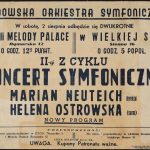 Afisz II Koncertu Symfonicznego Żydowskiej Orkiestry Symfonicznej
