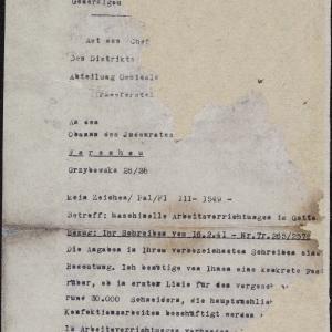 Pismo Wydział Przesiedleń do Rady Żydowskiej w Warszawie dot. warsztatów krawieckich (fragment)