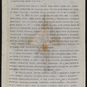 """Relacja pt. """"Koronacja młodego [Samuela] Gancwajcha w relacji naocznego świadka uroczystego obchodu mającego miejsce w teatrze <<Nowy Azazel>> 2 VI 1941 r."""""""