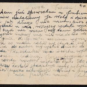 Listy Luby Rozenberg do Frani Zalcman w getcie warszawskim (ul. Elektoralna 14 m. 93) o zagładzie Żydów w Dubience