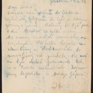 List Ity i Icchaka z 4.06.1942  do Icchaka Cukiermana oraz list Icchaka z 5.06.1942 do Henocha Gutmana