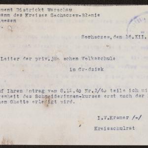 Pisma Powiatowego Radcy Szkolnego do kierownika szkoły żydowskiej w Grodzisku Mazowieckim