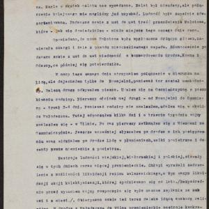 Relacja uchodźcy z Łodzi dr. Kaca (Edelista), dotycząca represji antyżydowskich w Wilnie i okolicach w pierwszych miesiącach po wybuchu wojny niemiecko - rosyjskiej