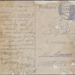 List Janiny Szylskiej do Ludwika Hirszberga w getcie warszawskim