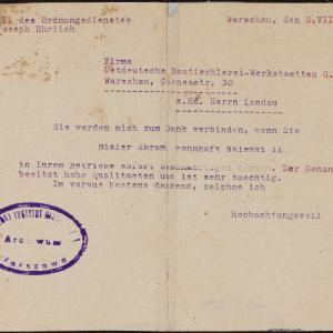 Pismo Josepha Ehrlicha do [dyr. Aleksandra Lejba] Landaua z 5.08.1942 r.