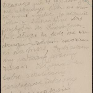 List niezidentyfikowanej Róży do Józefa Frydmana w getcie warszawskim o swym przybyciu do Bodzentyna