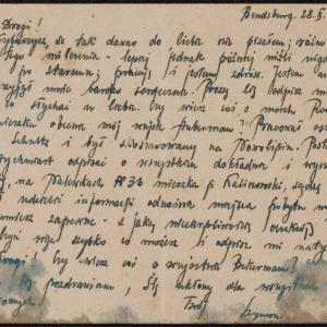 List niezidentyfikowanego Szymona do I.M. [Icchaka Meira] Kramarza w getcie warszawskim z prośbą o wiadomość o rodzicach
