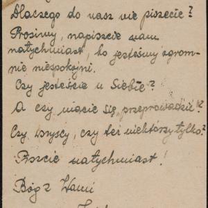 List Rafała Zajdmana do rodziny Sandaczów w getcie warszawskim z prośbą o wiadomość