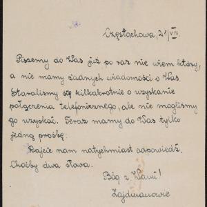 List Rafała Zajdmana do rodziny Sandaczów w getcie warszawskim z powtórną prośbą o wiadomość