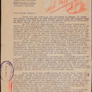 List Davida Jonasa do Maximiliana Jezierskiego (Brwinów) z 8.07.1942 r.