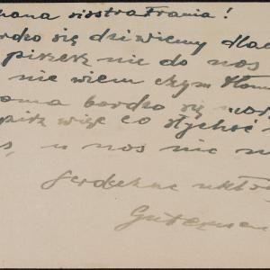 List Symchy Gutermana do siostry Frani w getcie warszawskim z prośbą o list