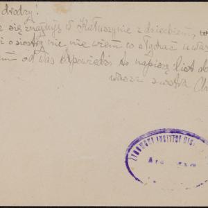 List niezidentyfikowanej Chumy do J.Goldsztejna w getcie warszawskim o braku wiadomości o mężu i siostrze