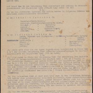 Spis miejscowości z dystryktów radomskiego, krakowskiego, lubelskiego i galicyjskiego, w których Żydom wolno mieszkać na podstawie rozporządzenia z dn. 28.10.1942 r.
