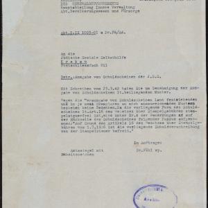 Pismo Rządu GG do Prezydium ŻSS w Krakowie z 22.04.1942
