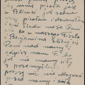 List Peli Okonowskiej do rodziny Grabskich w getcie warszawskim, z prośbą o wiadomości o losie krewnych