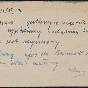 List niezidentyfikowanego Żyda z Płońska do rodziny w getcie warszawskim o deportacji z getta