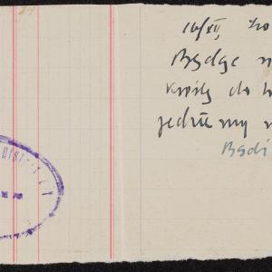 List niezidentyfikowanej Lai z Płońska do krewnych w getcie warszawskim o deportacji z getta